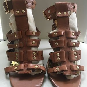 BCBGGirls tan gladiator heels, size 10